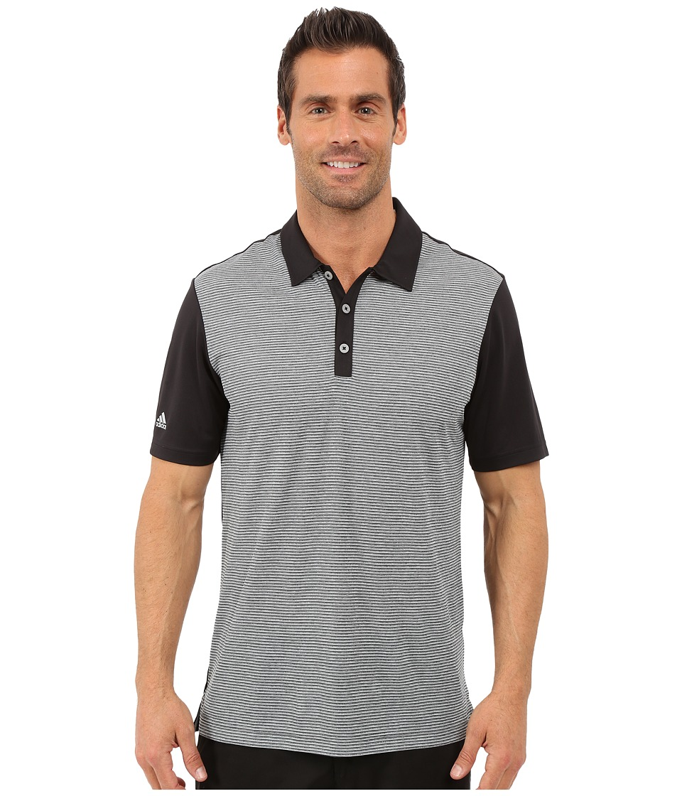 adidas Golf - CLIMACHILL Heather Stripe Polo (Black) Men's Clothing