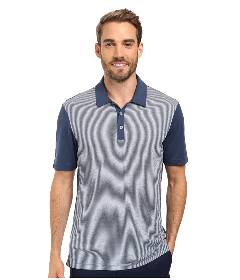 adidas Golf - CLIMACHILL Heather Stripe Polo (Mineral Blue) Men's Clothing