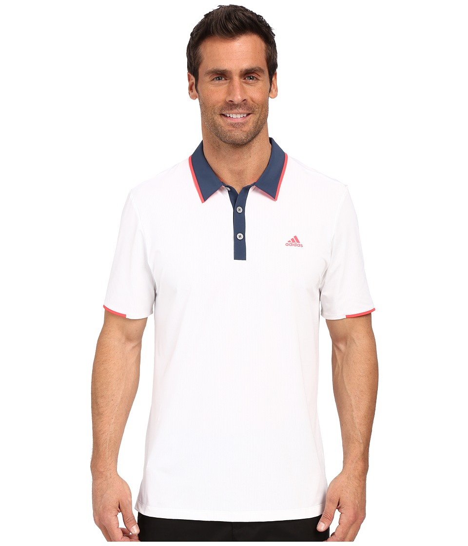 adidas Golf - CLIMACOOL Branded Performance Polo (White/Mineral Blue) Men's Short Sleeve Pullover