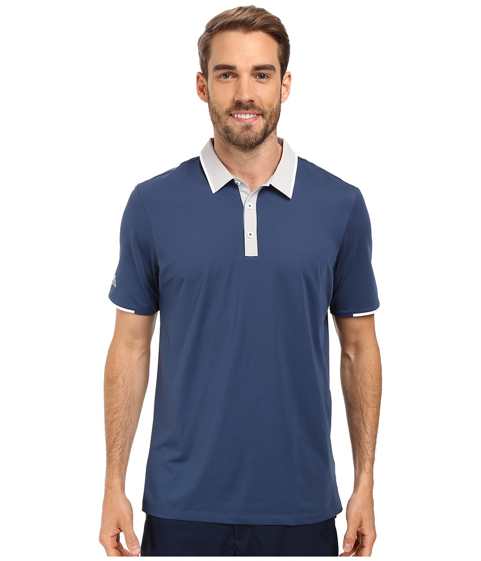 adidas Golf - CLIMACOOL Performance Polo (Mineral Blue/Stone) Men's Clothing