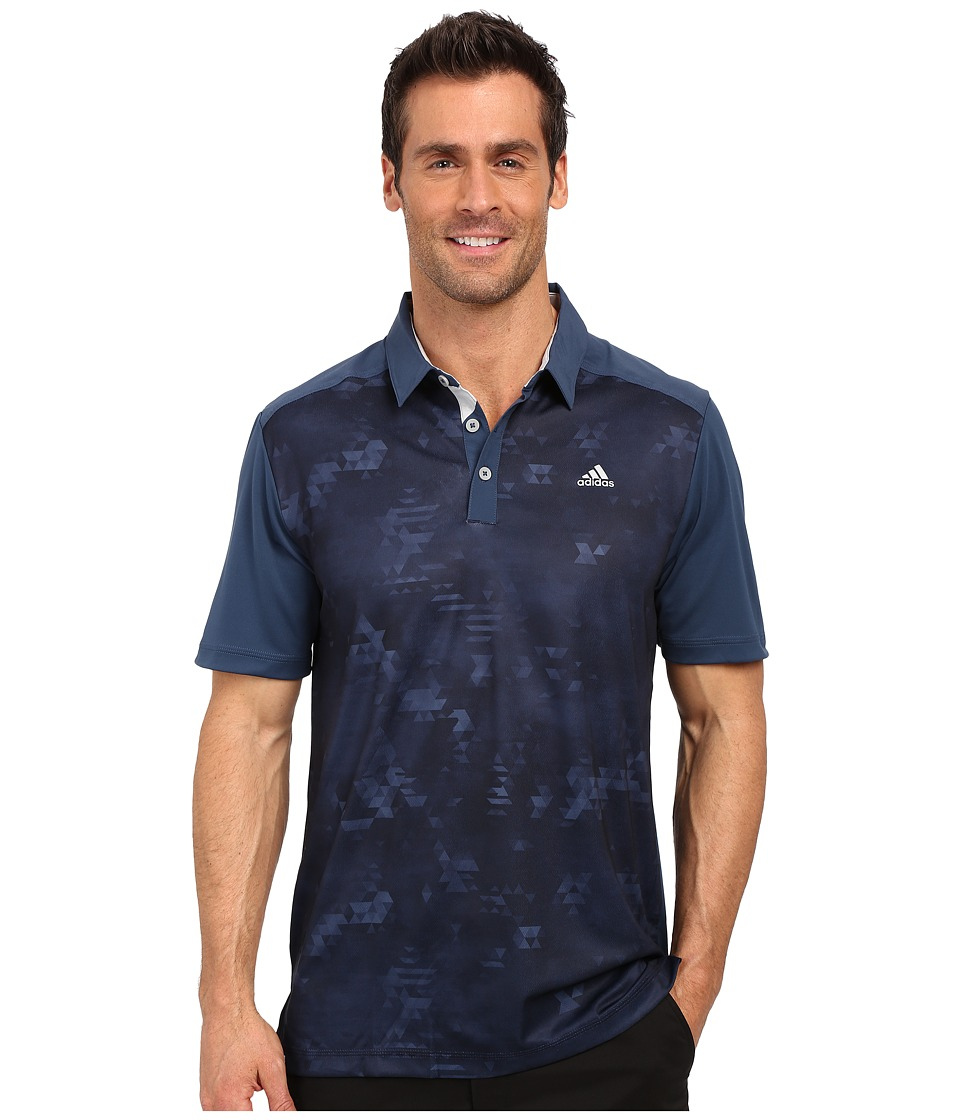 adidas Golf - CLIMACOOL Geo Print Polo (Mineral Blue) Men's Short Sleeve Pullover