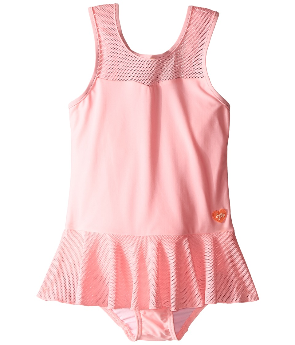 Seafolly Kids - Peek A Boo Peplum Tank Top (Infant/Toddler/Little Kids) (Carnation Pink) Girl's Swimwear