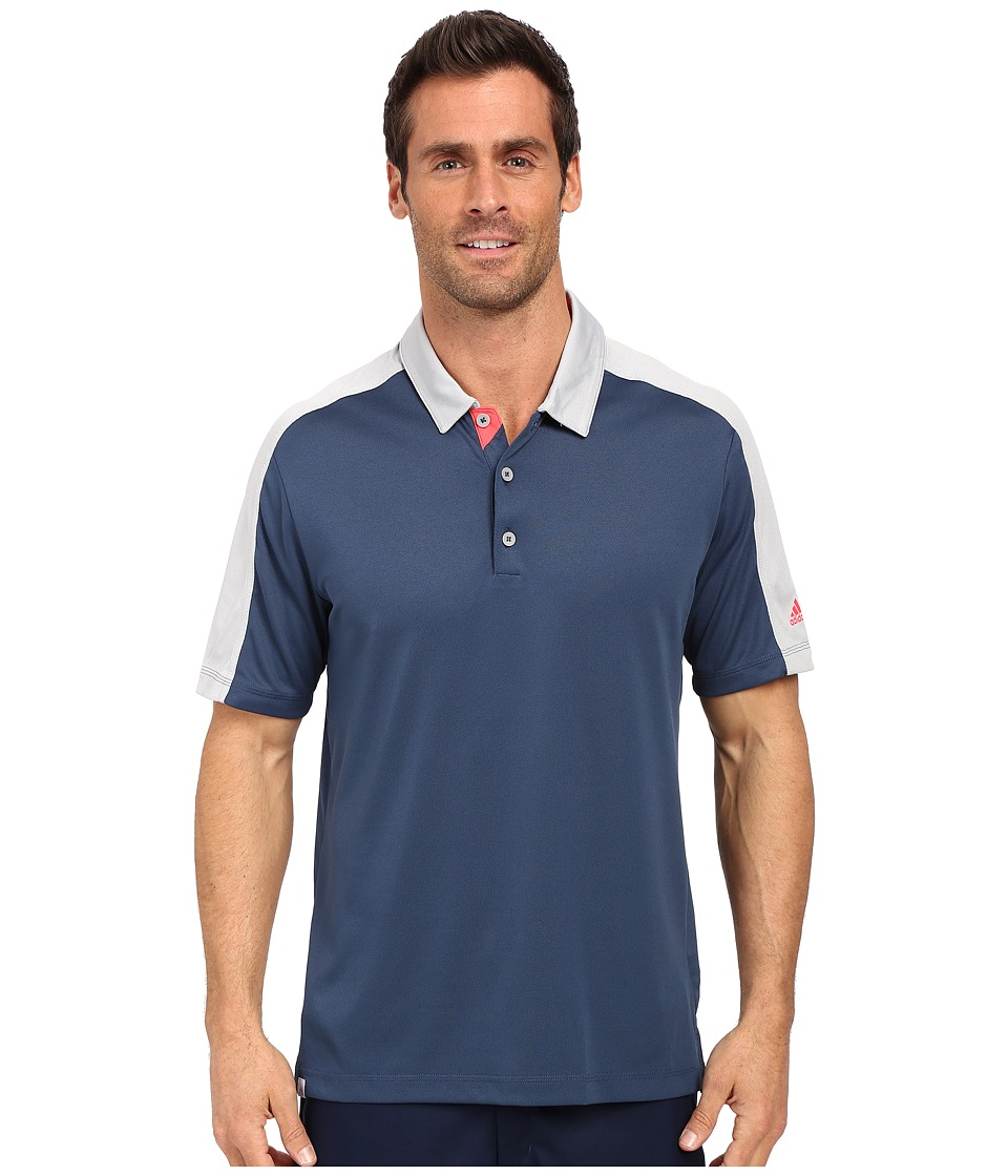 adidas Golf - CLIMACOOL Pique Geo Block Polo (Mineral Blue/Stone) Men's Short Sleeve Pullover