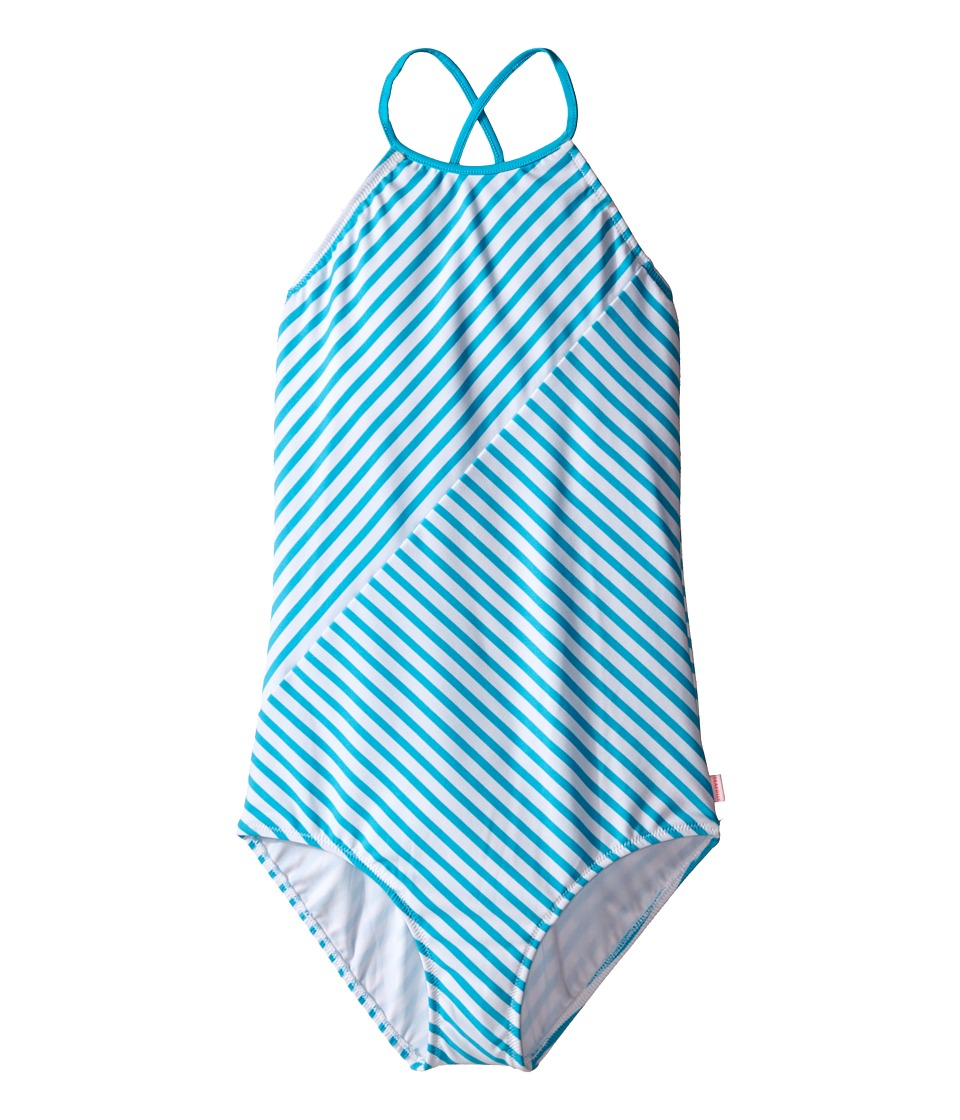 Seafolly Kids - Tropical Splice High Neck Tank Top (Little Kids/Big Kids) (Aqua) Girl's Swimwear