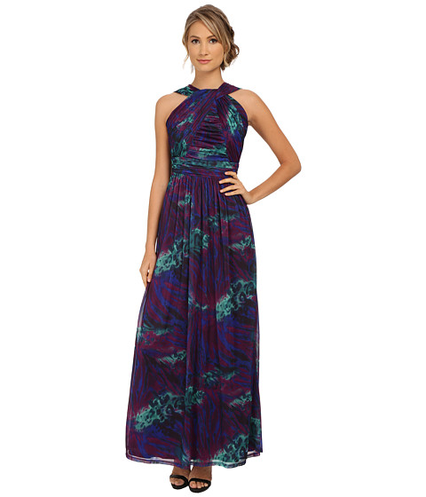 Sangria - Halter Neck Abstract Print Gown (Purple/Multi) Women