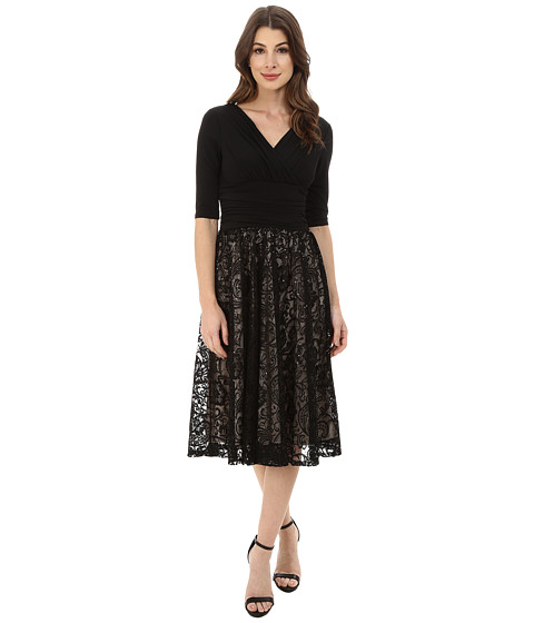 Sangria - 3/4 Sleeve V-Neck Lace Fit and Flare (Black/Stone) Women
