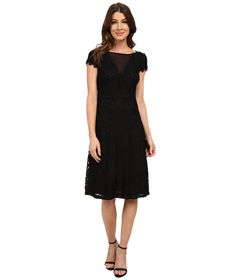 Sangria - Short Sleeve All Over Lace Fit and Flare (Black) Women's Dress