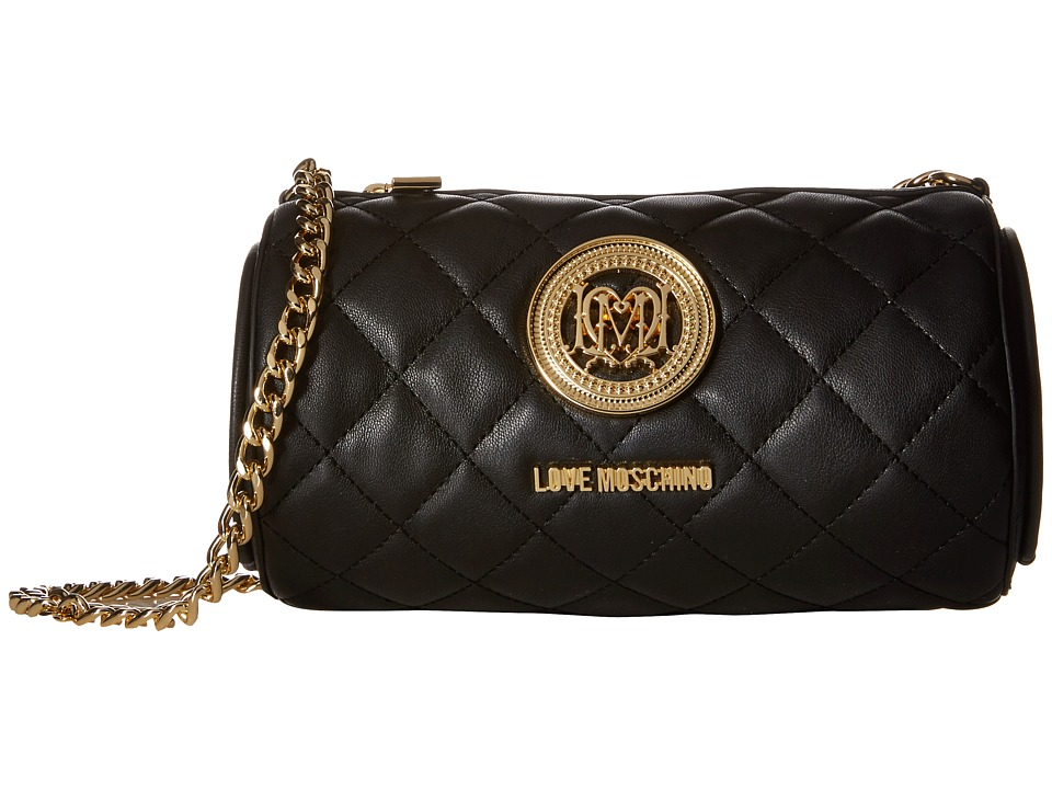 LOVE Moschino - Cylinder Quilted Crossbody Bag (Black) Cross Body Handbags