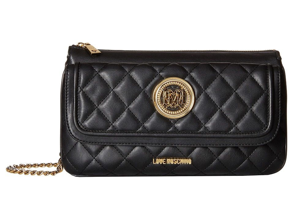 LOVE Moschino - Long Classic Quilted Crossbody Bag (Black) Cross Body Handbags