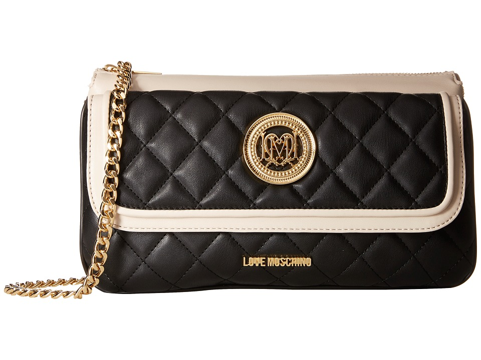LOVE Moschino - Long Classic Quilted Crossbody Bag (Black/White) Cross Body Handbags
