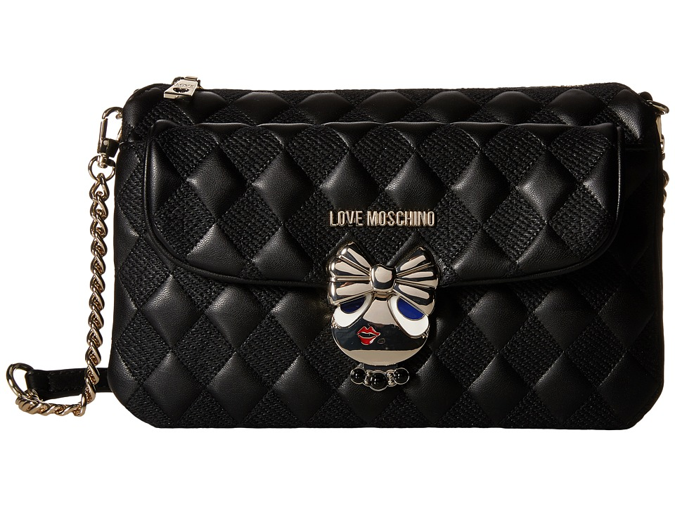 LOVE Moschino - Updated Small Quilted Crossbody Bag with Love Girl Clasp (Black) Cross Body Handbags