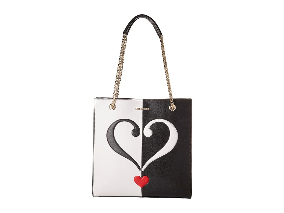 LOVE Moschino - Two-Tone Vertical Shopping Bag (Black/White) Handbags