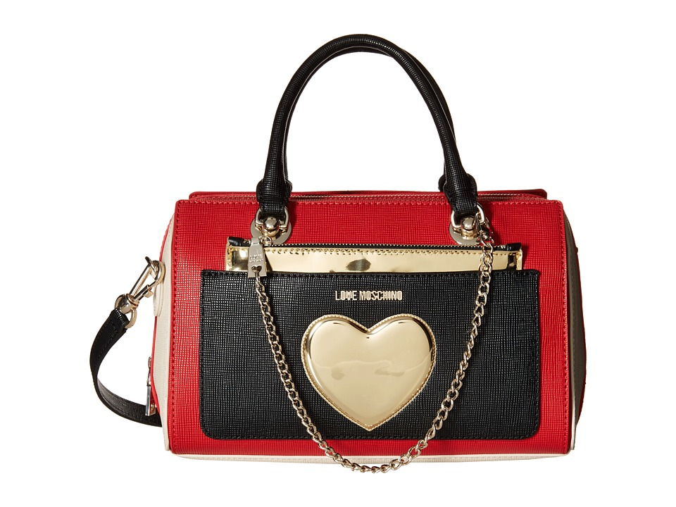 LOVE Moschino - Two-Tone Heart Chained Handbag (Red/White) Handbags