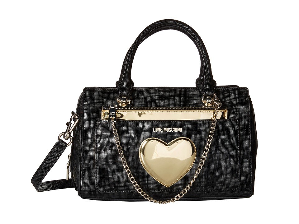 LOVE Moschino - Chained Heart Handbag (Black) Handbags