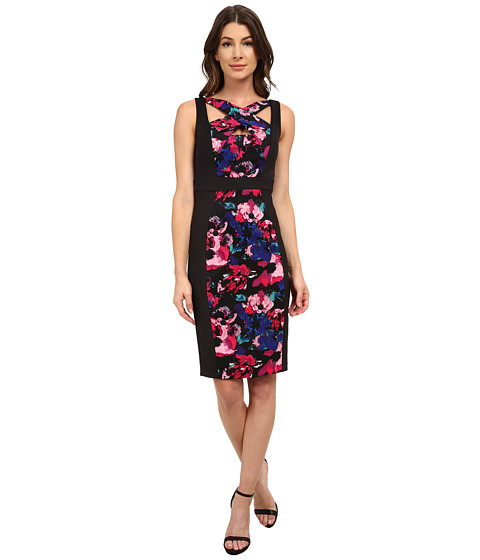 Sangria - Criss Cross Neck Floral Print Scuba Sheath (Magenta/Multi) Women