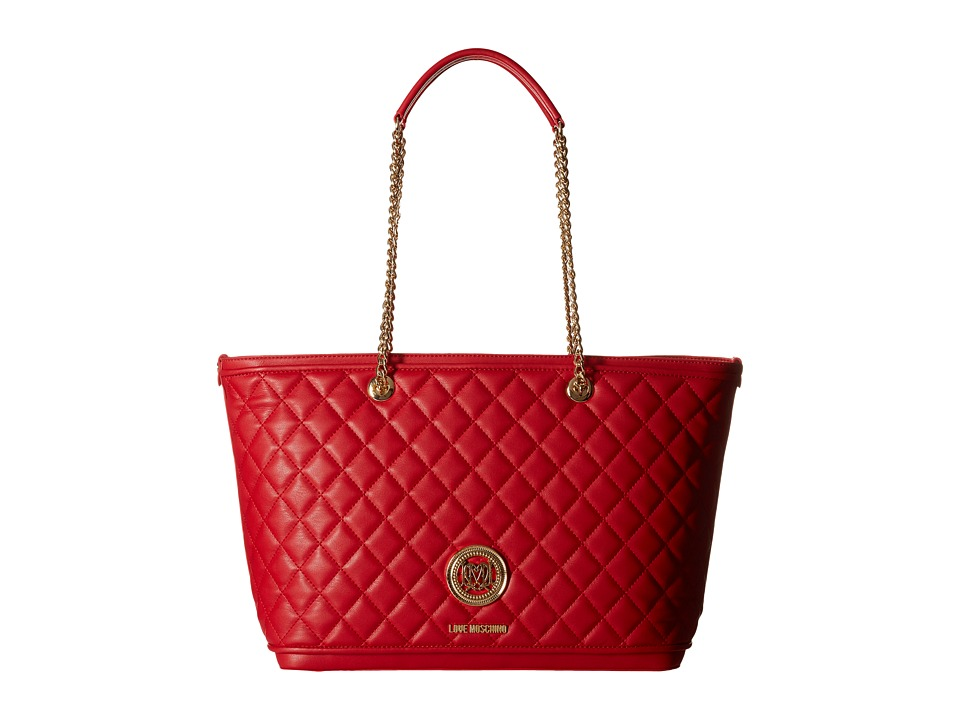 LOVE Moschino - Superquilted Chain Strap Tote (Red) Tote Handbags