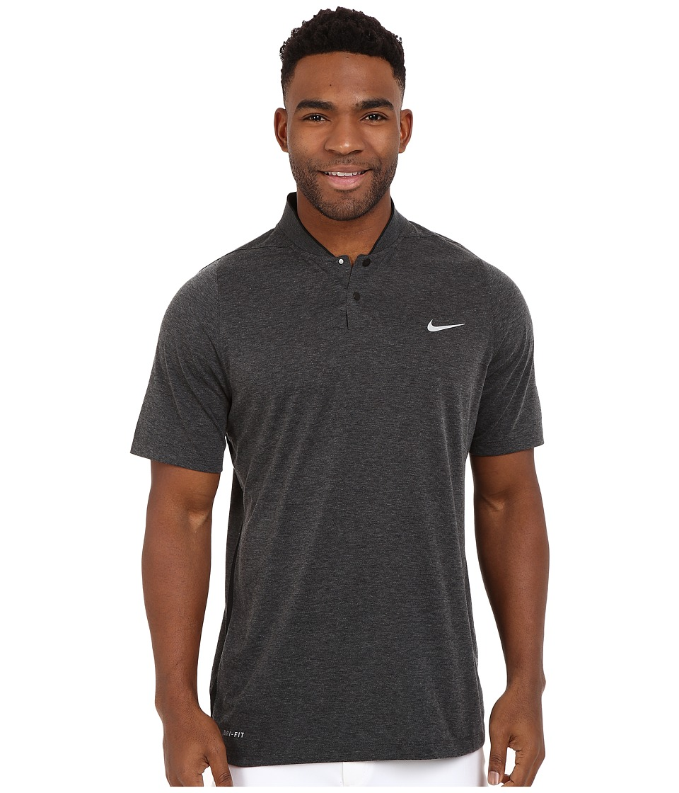 Nike Golf - Tiger Woods Velocity DF Cotton Blade (Black Heather/Black/Black/Reflective Silver) Men's Short Sleeve Pullover