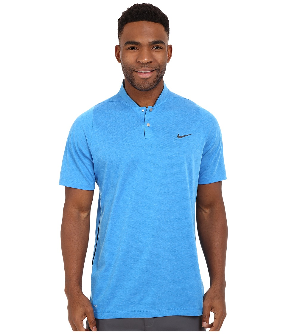 Nike Golf - Tiger Woods Velocity DF Cotton Blade (Light Game Royal Heather/Black/Game Royal/Reflect Black) Men's Short Sleeve Pullover