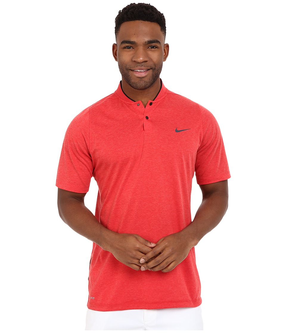 Nike Golf - Tiger Woods Velocity DF Cotton Blade (Light University Red Heather/Black/Gym Red/Reflect Black) Men's Short Sleeve Pullover