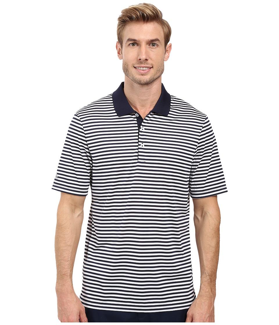 adidas Golf - Performance 3-Color Stripe Polo (Navy/White) Men's Clothing