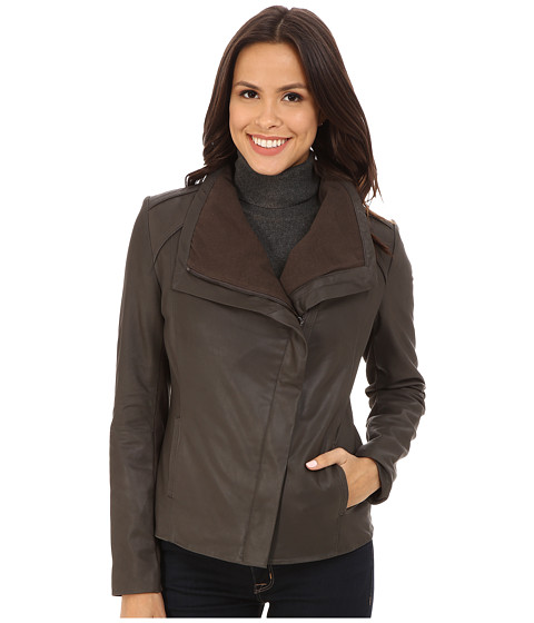 T Tahari - Andreas Drape Front Leather (Tusk) Women's Coat