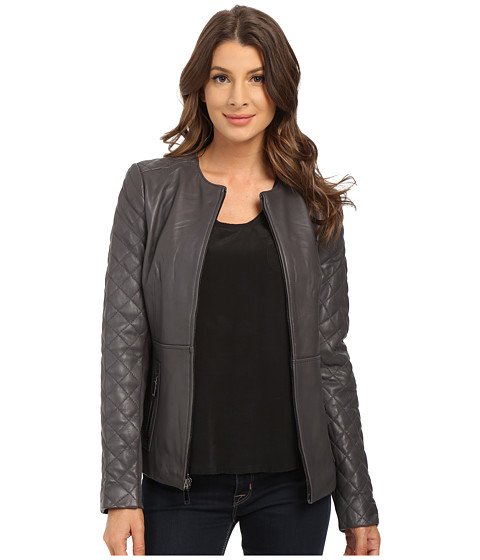 T Tahari - Quilted Sleeve Zip Front Leather (Graphite) Women