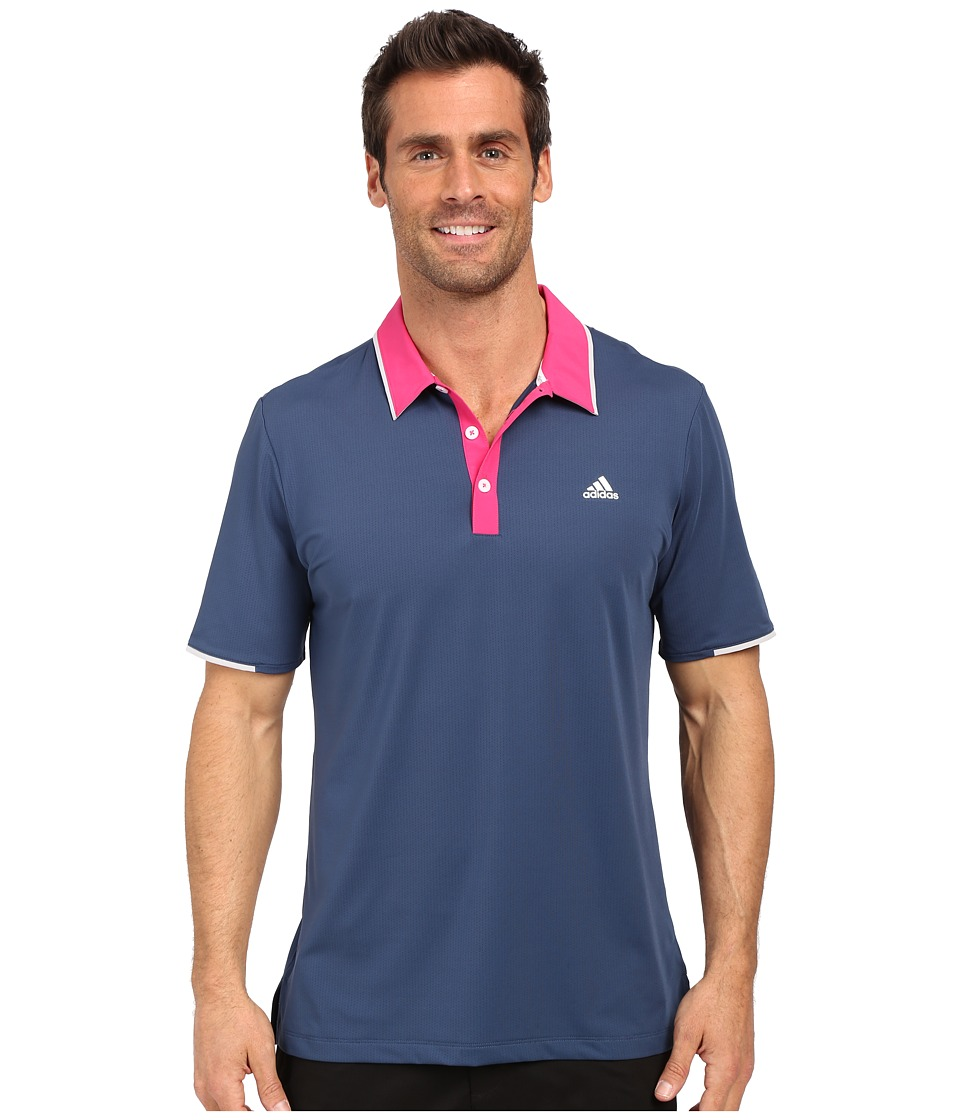 adidas Golf - CLIMACOOL Branded Performance Polo (Mineral Blue/EQT Pink) Men's Short Sleeve Pullover