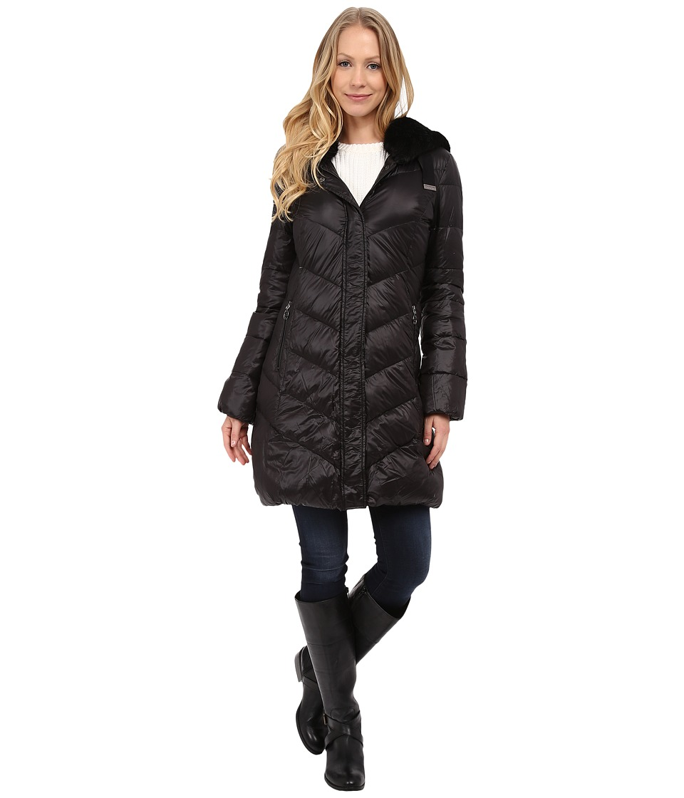 T Tahari - Austin Faux Fur Trim Down (Black) Women's Coat