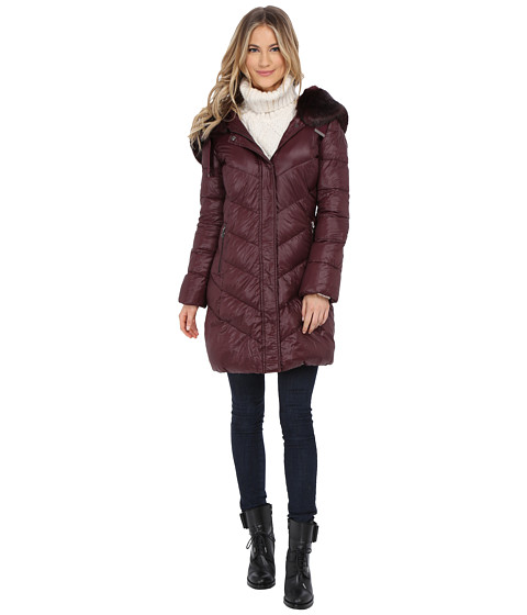 T Tahari - Austin Faux Fur Trim Down (Burgundy) Women's Coat