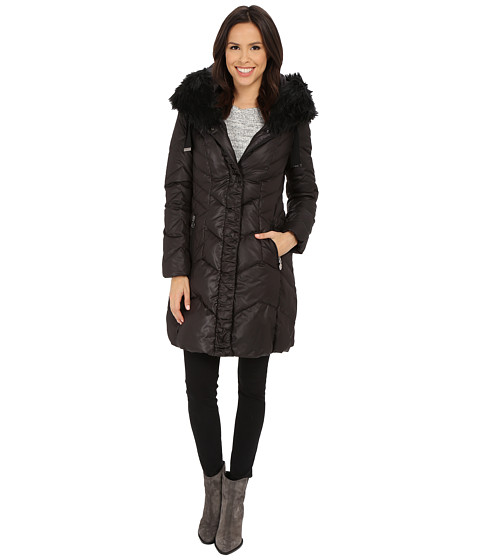 T Tahari - Mia Faux Fur Trimmed with Ruffle (Black) Women