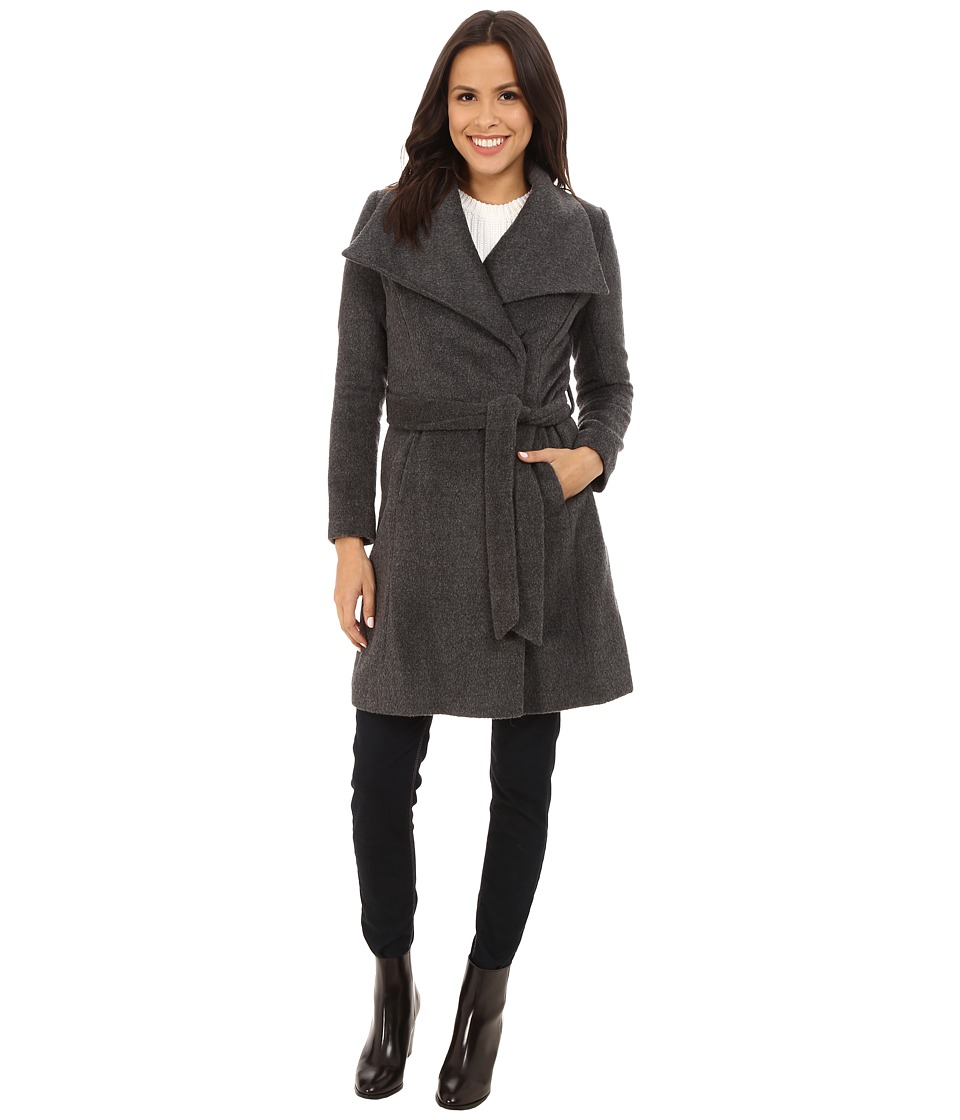 T Tahari - Mia Texture Wool Trench (Charcoal) Women's Coat