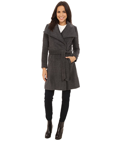 T Tahari - Mia Texture Wool Trench (Charcoal) Women