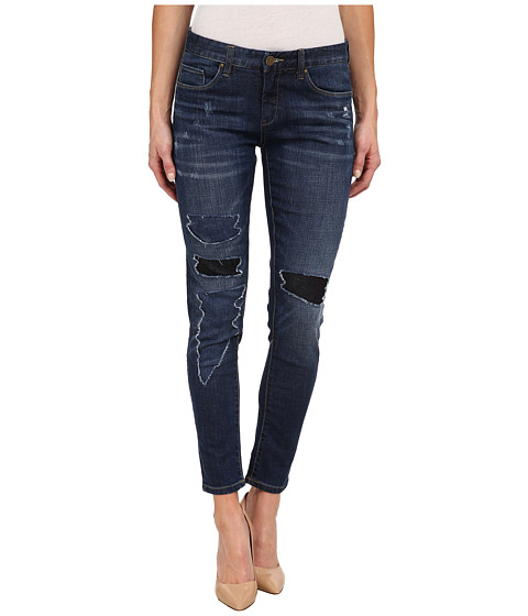 Blank NYC - Denim with Black Color Block/Rips in Denim Blue (Denim Blue) Women's Jeans