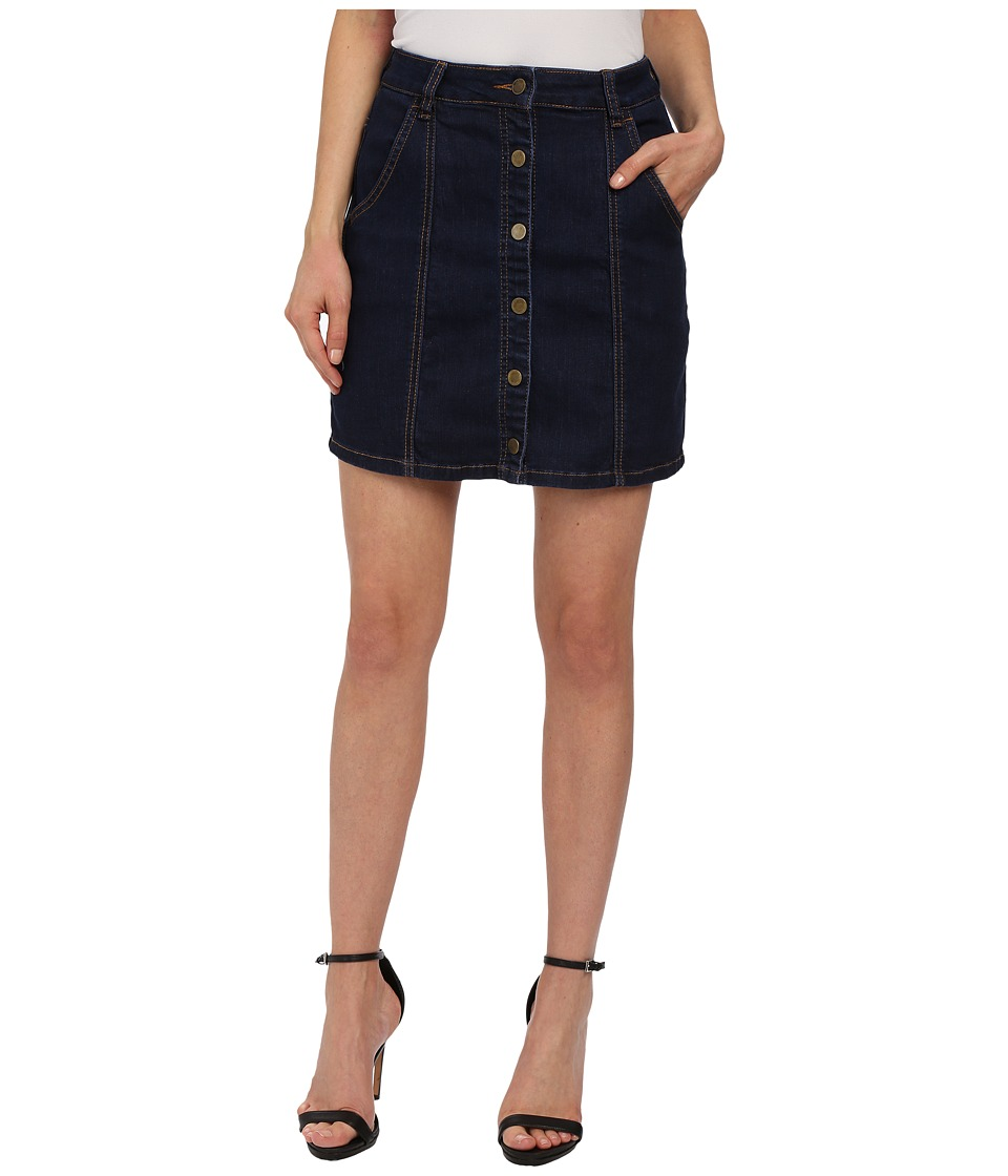 Blank NYC - Denim Skirt A Line with Buttons (Denim Blue) Women