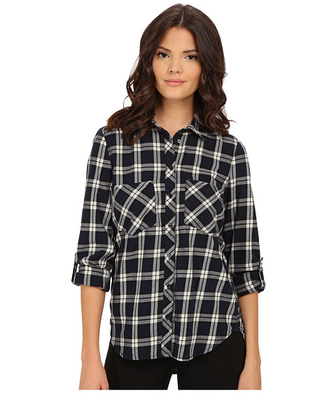 Blank NYC - Plaid Shirt (Navy Blue/Beige) Women's Clothing