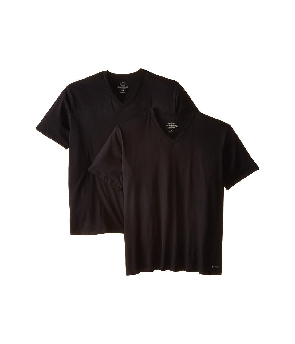 Calvin Klein Underwear - Big Tall Cotton Classic 2-Pack Tall Short Sleeve V-Neck (Black) Men's Underwear