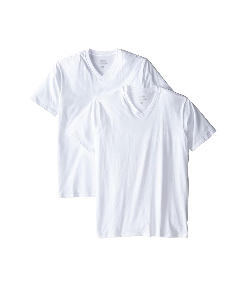 Calvin Klein Underwear - Big Tall Cotton Classic 2-Pack Tall Short Sleeve V-Neck (White) Men's Underwear