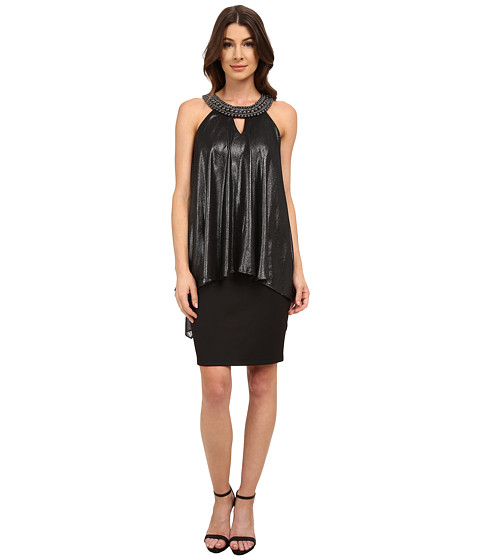 Sangria - Embellished Halter Neck Hi-Low Pop Over Sheath (Black) Women