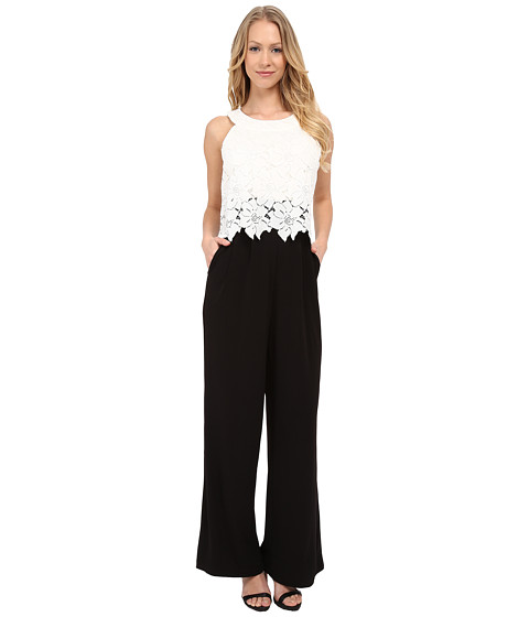 Sangria - Lace Pop Over Wide Leg Jumpsuit with Pockets (Black/Ivory) Women's Jumpsuit & Rompers One Piece