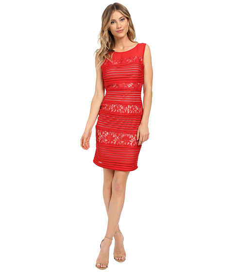 Sangria - Textured Stripe and Lace Sheath (Red) Women