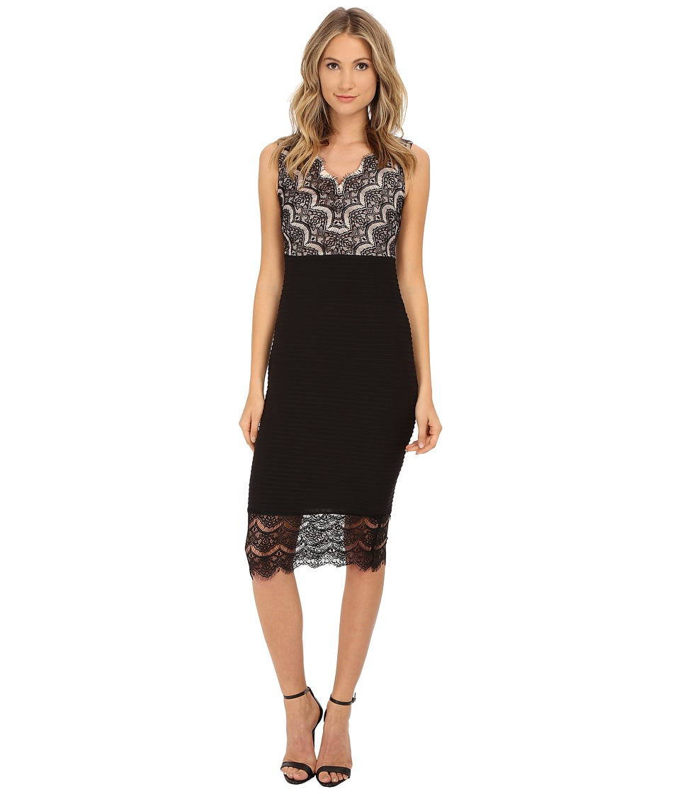 Sangria - V-Neck Lace and Shutter Pleat Midi Length Sheath (Black/Rose Blush) Women's Dress