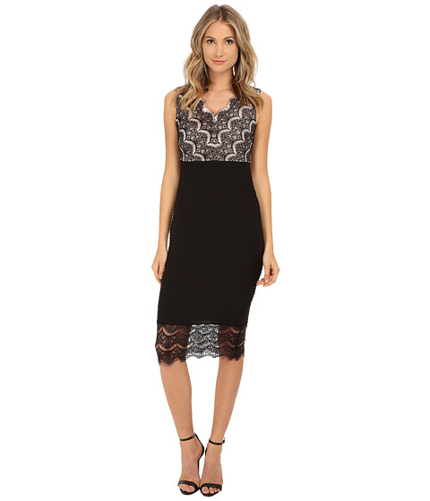 Sangria - V-Neck Lace and Shutter Pleat Midi Length Sheath (Black/Rose Blush) Women