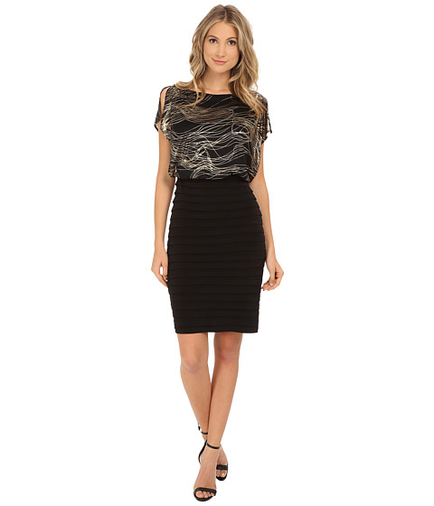 Sangria - Metallic Swirl Print Blouson with Shutter Pleat Skirt Sheath (Black/Gold) Women's Dress
