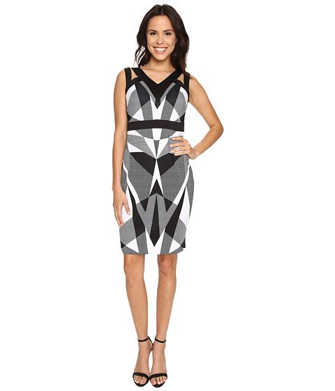 Sangria - Geo Print Scuba Cutout Shoulder Sheath (Black/White) Women's Dress