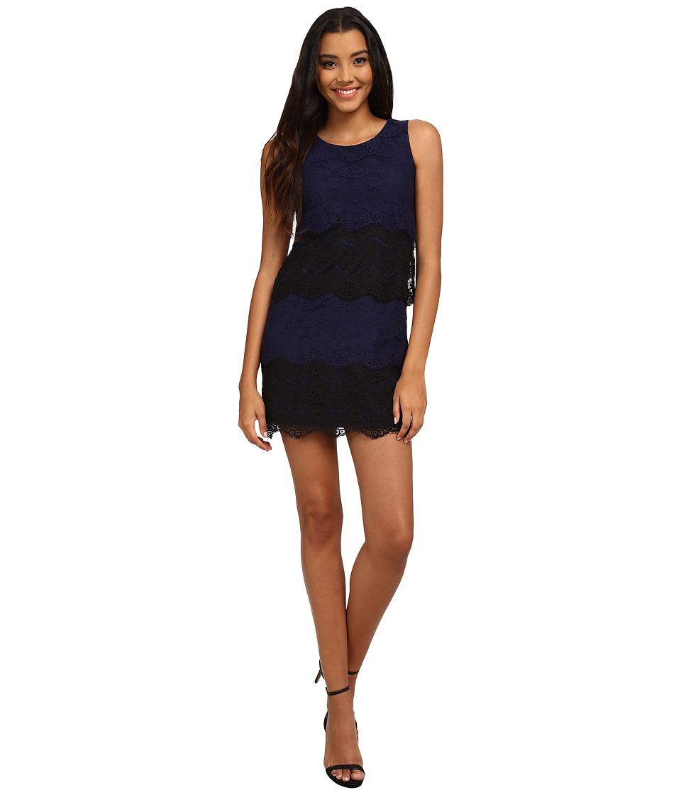 Jessica Simpson Scallop Lace Tier Dress (Blue) Women