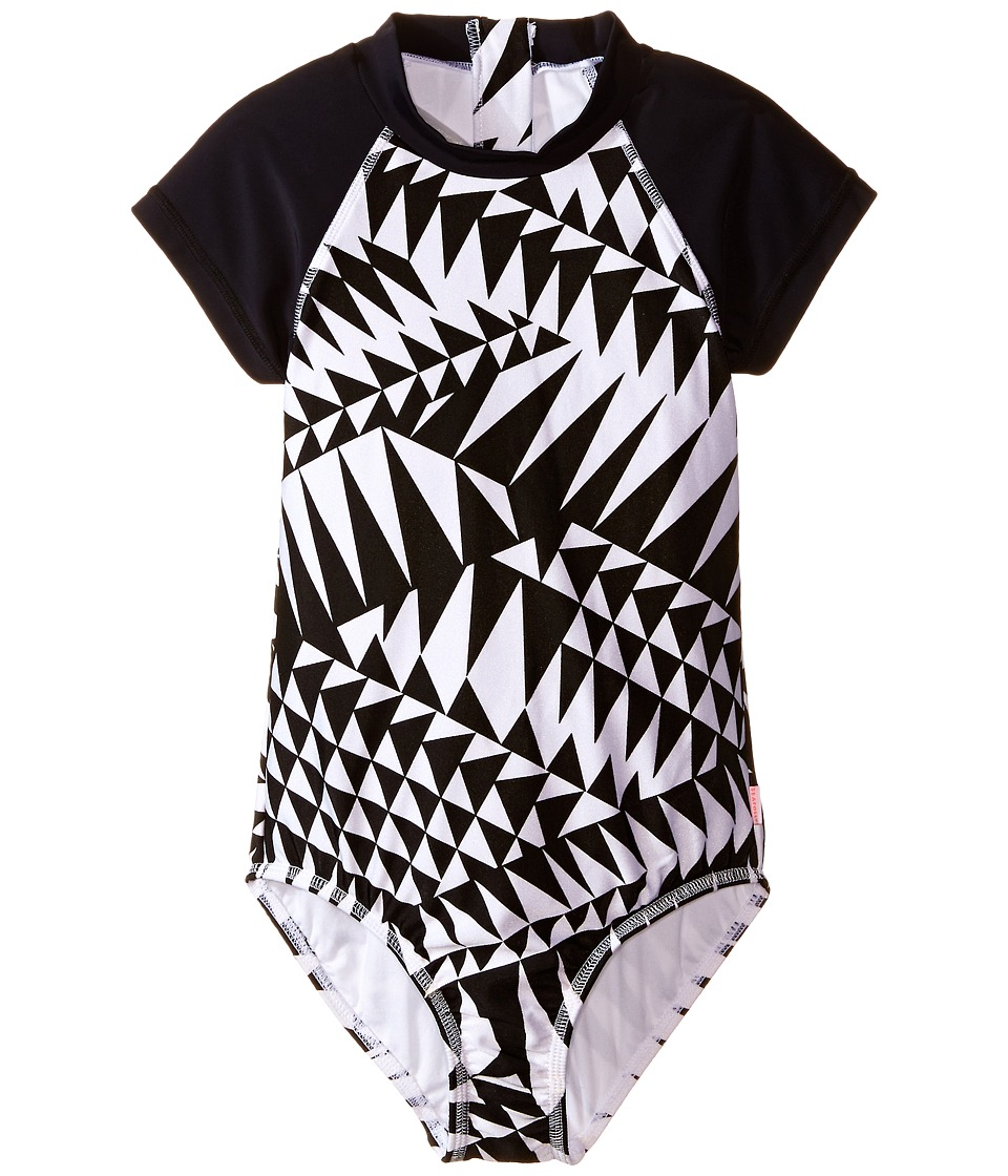 Seafolly Kids - Pool Party Short Sleeve Surf Tank One-Piece (Little Kids/Big Kids) (Black/White) Girl's Swimsuits One Piece
