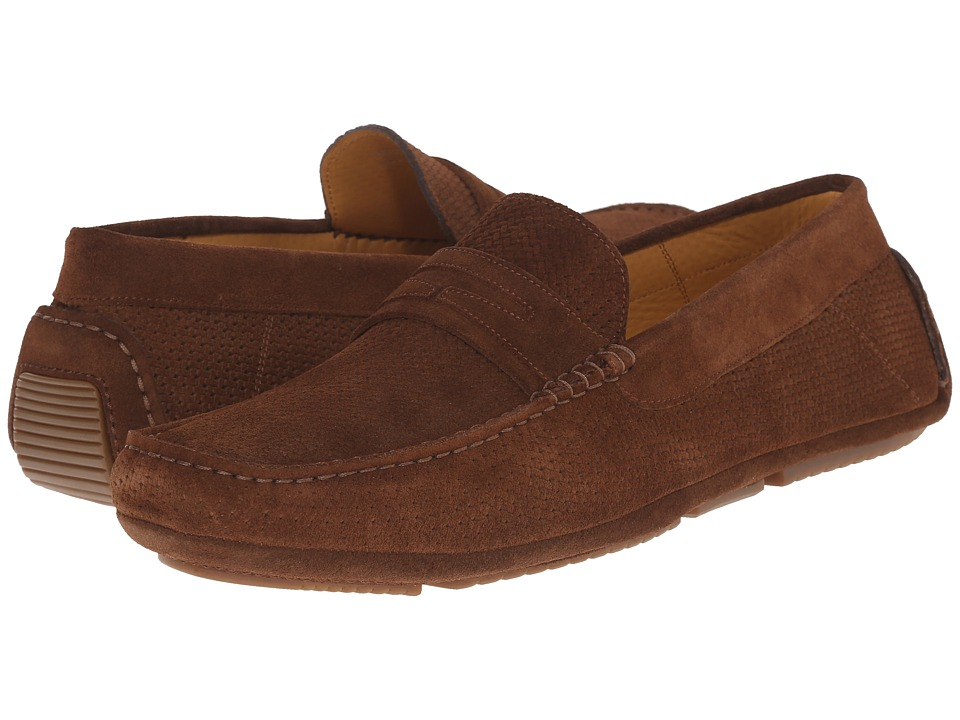 Aquatalia - Bruce (Medium Brown Woven Suede) Men's Slip on Shoes
