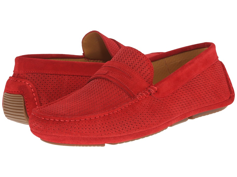 Aquatalia - Bruce (Red Woven Suede) Men's Slip on Shoes