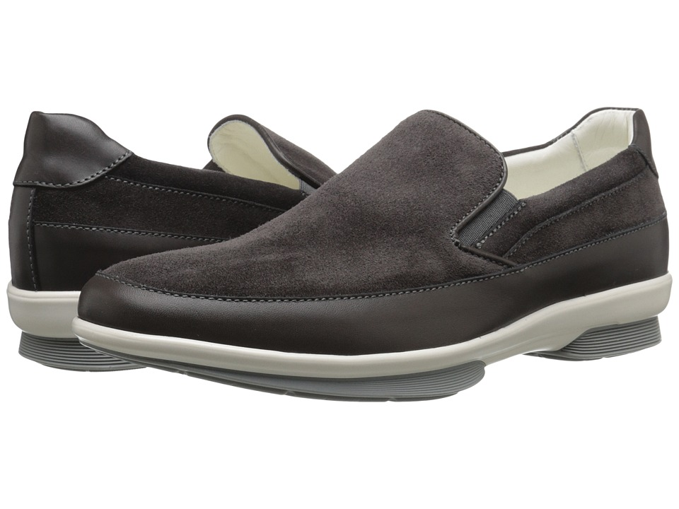 Aquatalia - Wilson (Gray Suede/Contrast Bottom) Men's Slip on Shoes