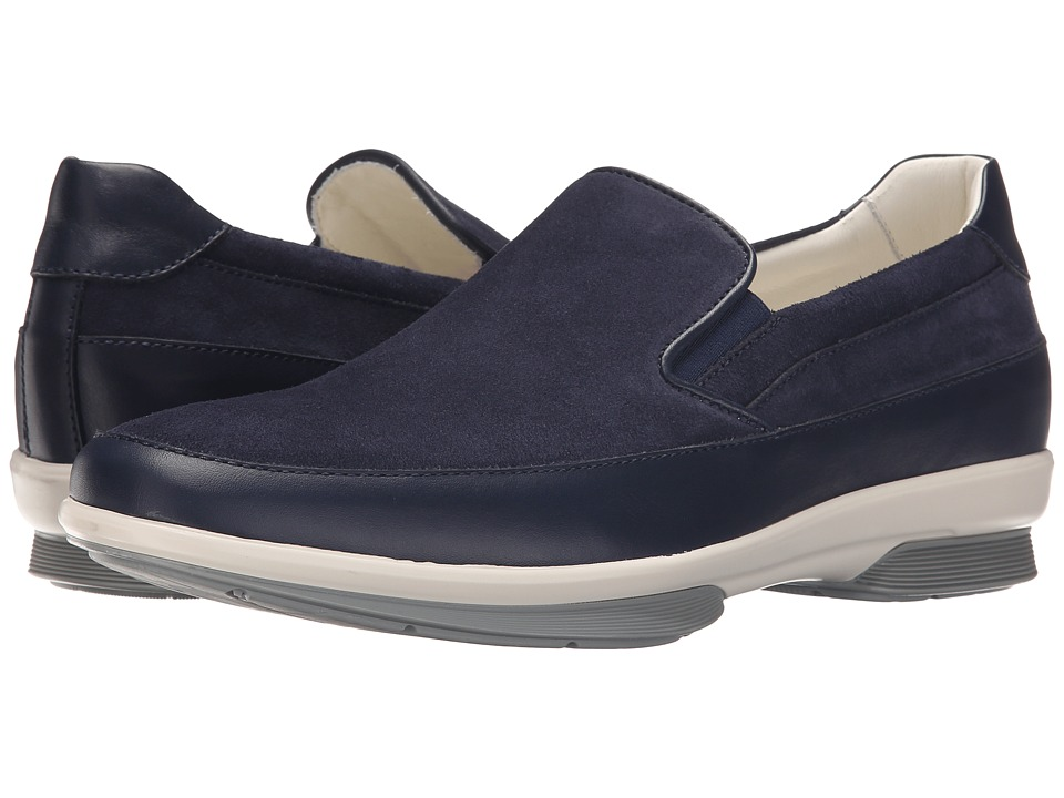 Aquatalia - Wilson (Navy Suede/Contrast Bottom) Men's Slip on Shoes